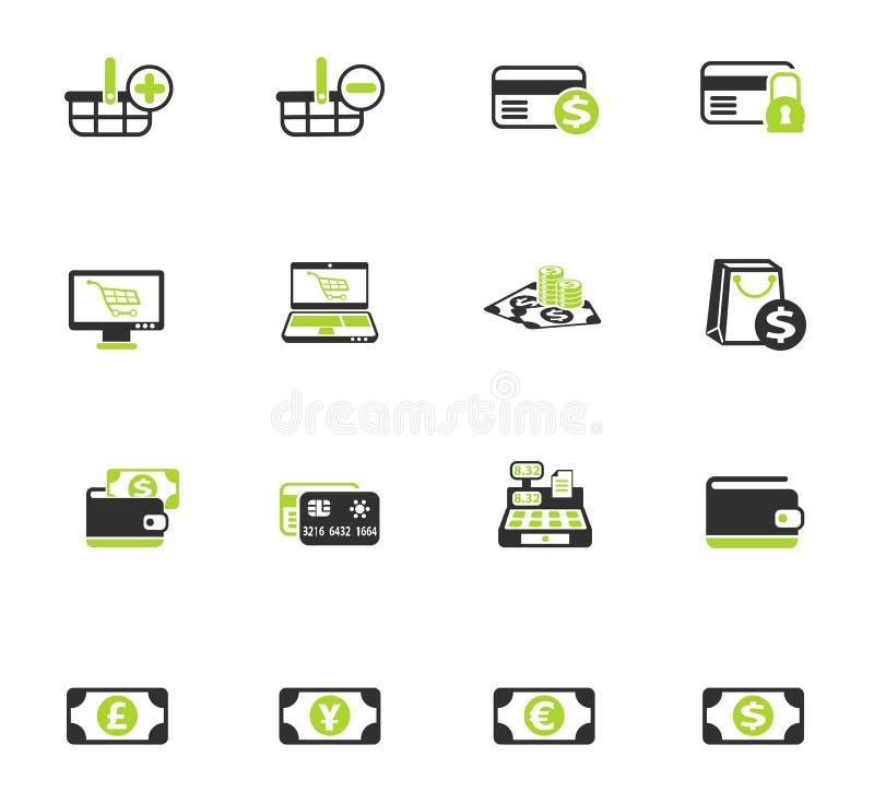 Insieme dell'icona di colore di commercio elettronico royalty illustrazione gratis