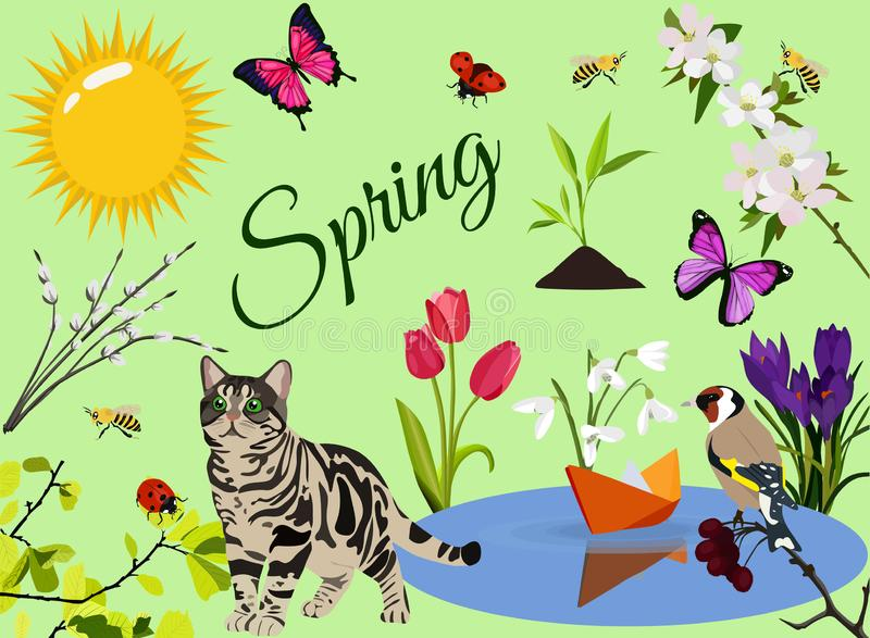 Insieme dell'icona di colore della primavera, simboli raccolta, schizzi di vettore, illustrazioni di logo, piano realistico della illustrazione di stock