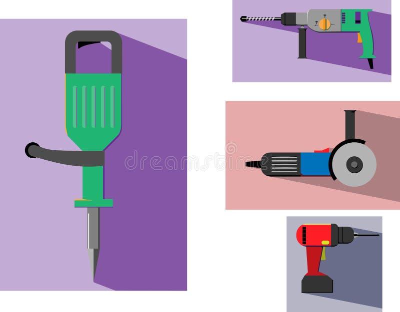 Insieme dell'icona di colore di vettore delle macchine utensili con fondo nello stile piano royalty illustrazione gratis