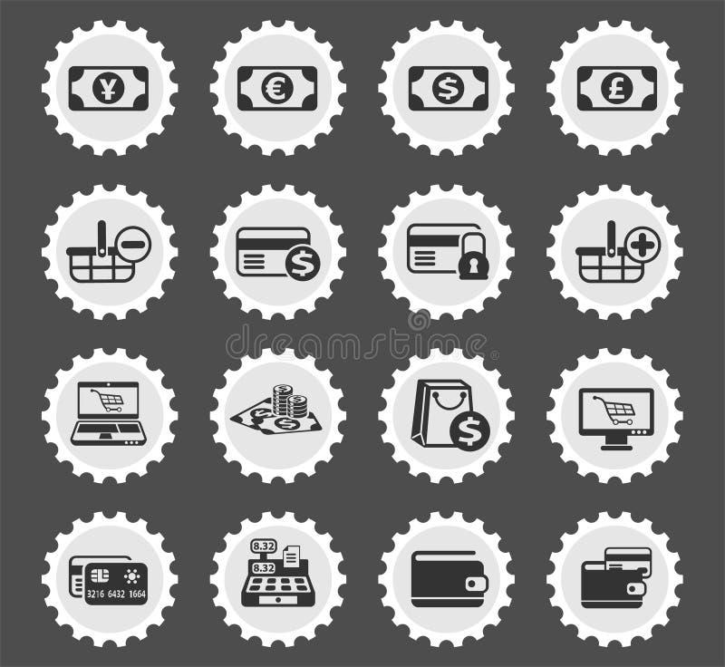 Insieme dell'icona di commercio elettronico illustrazione di stock