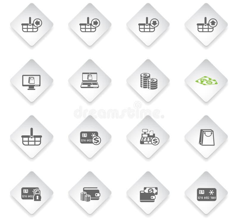 Insieme dell'icona di commercio elettronico illustrazione vettoriale