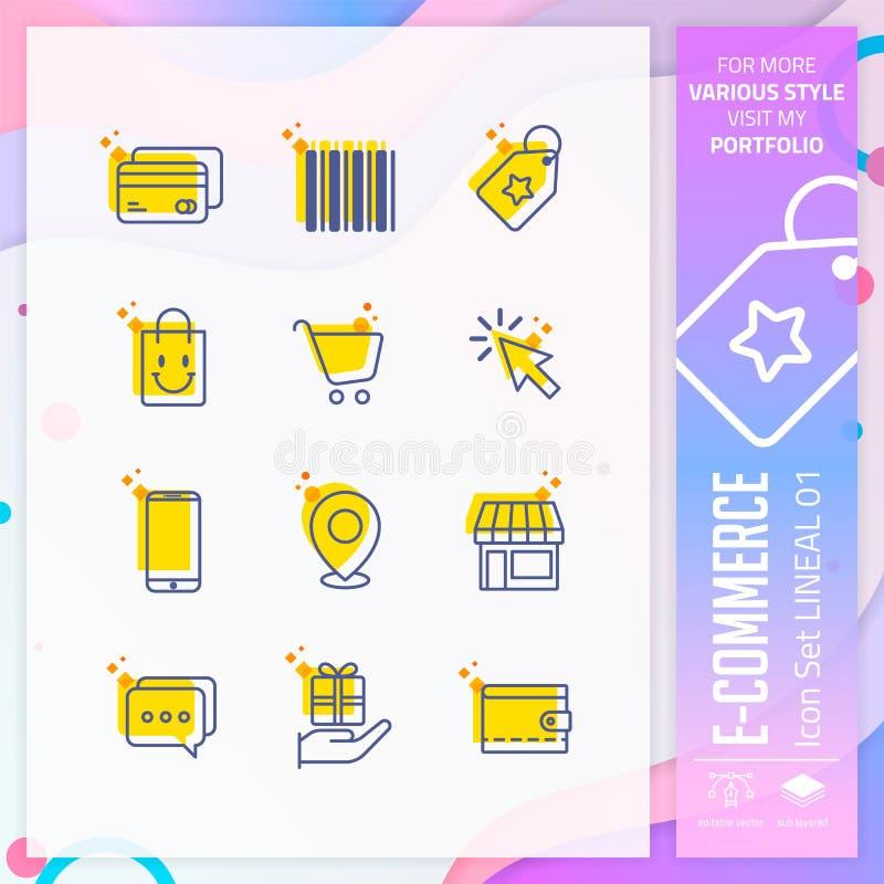 Insieme dell'icona di commercio elettronico con la linea stile per il simbolo di compera Il pacco online dell'icona del mercato p illustrazione vettoriale