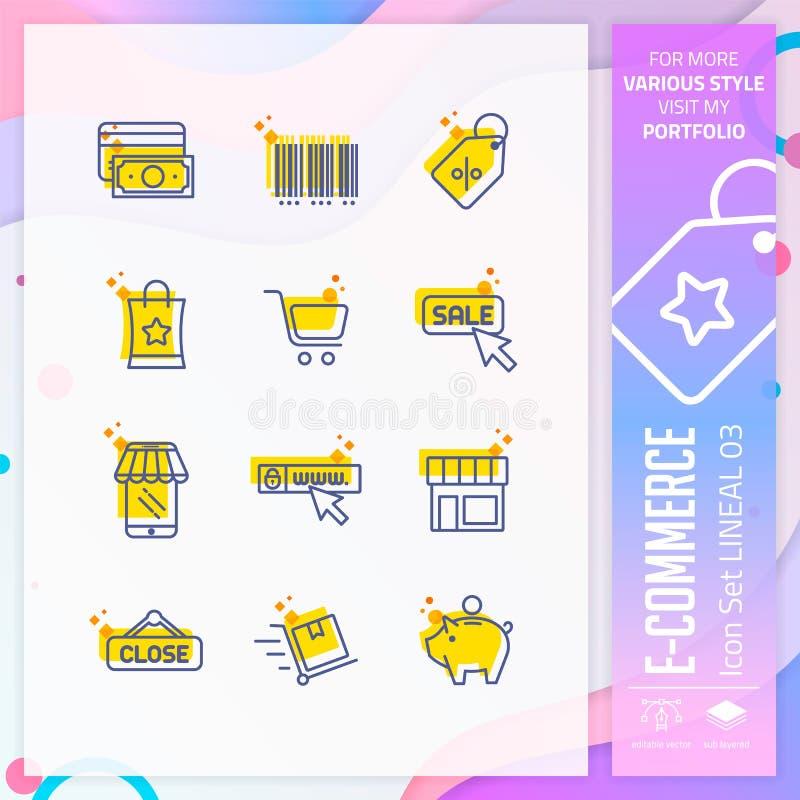 Insieme dell'icona di commercio elettronico con la linea stile per il simbolo di compera Il pacco online dell'icona del mercato p illustrazione di stock
