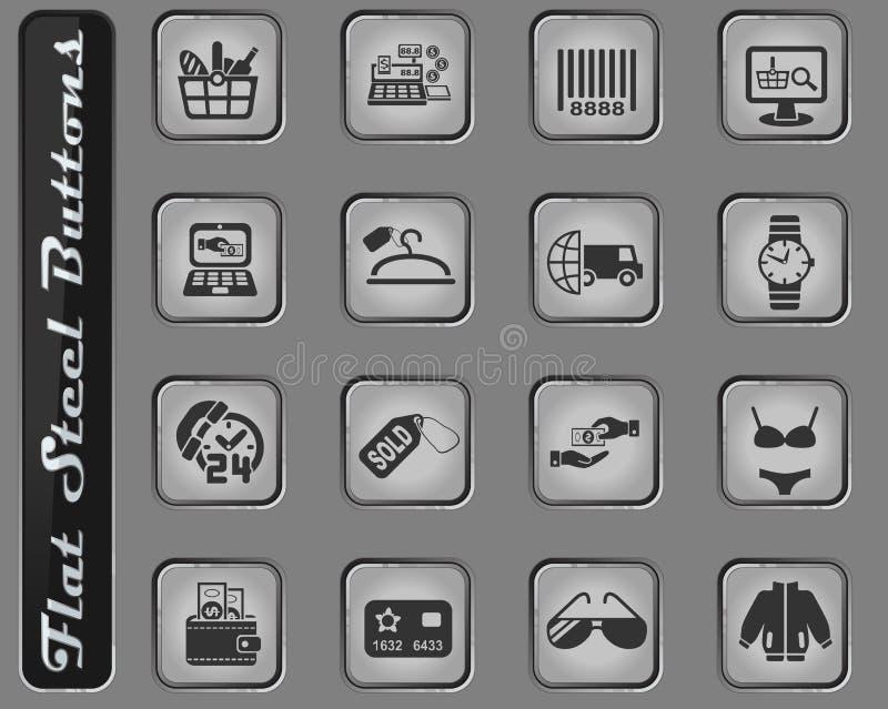 Insieme dell'icona di commercio elettronico e di acquisto illustrazione vettoriale