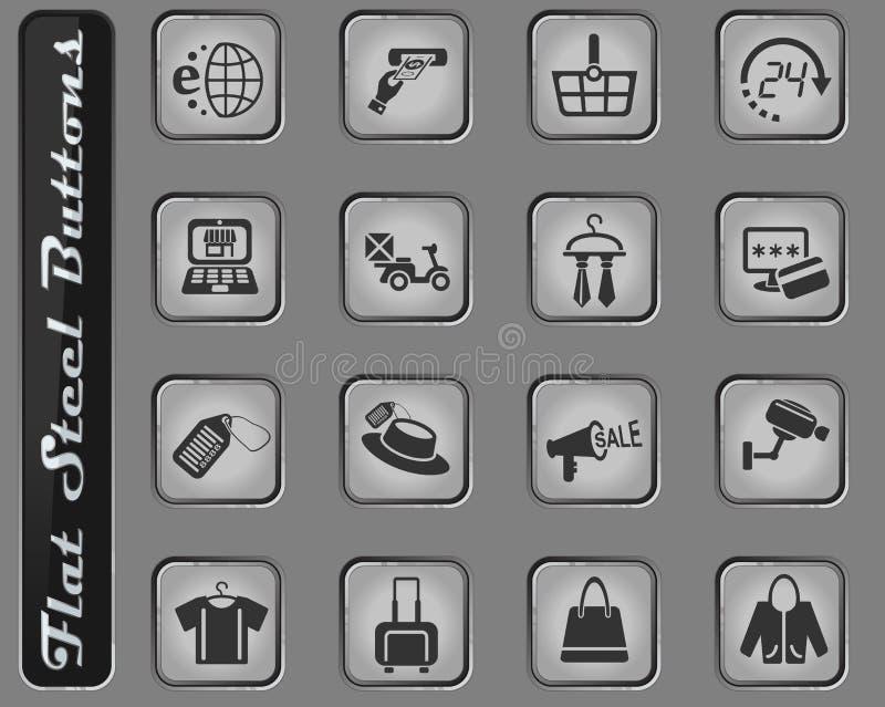 Insieme dell'icona di commercio elettronico e di acquisto illustrazione di stock
