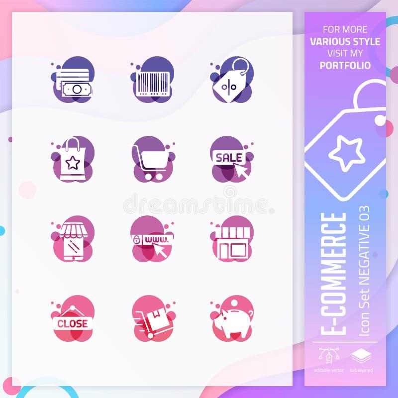 Insieme dell'icona di commercio elettronico su stile negativo per il simbolo di compera Il pacco online dell'icona del mercato pu illustrazione vettoriale