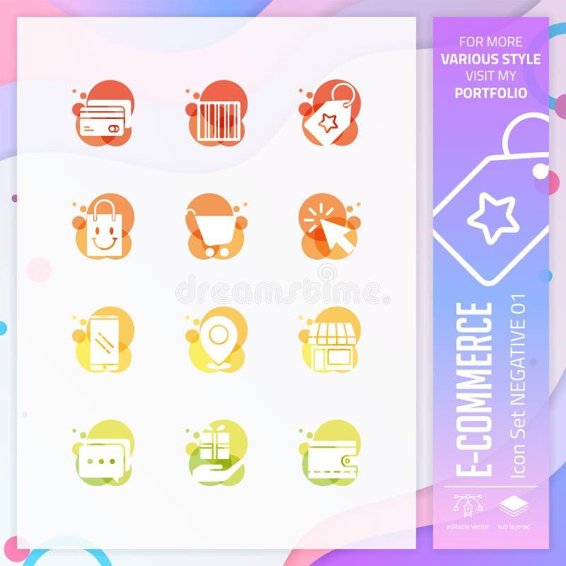 Insieme dell'icona di commercio elettronico su stile negativo per il simbolo di compera Il pacco online dell'icona del mercato pu royalty illustrazione gratis