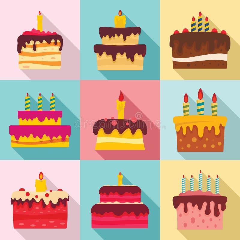 Insieme dell'icona di compleanno del dolce, stile piano illustrazione di stock