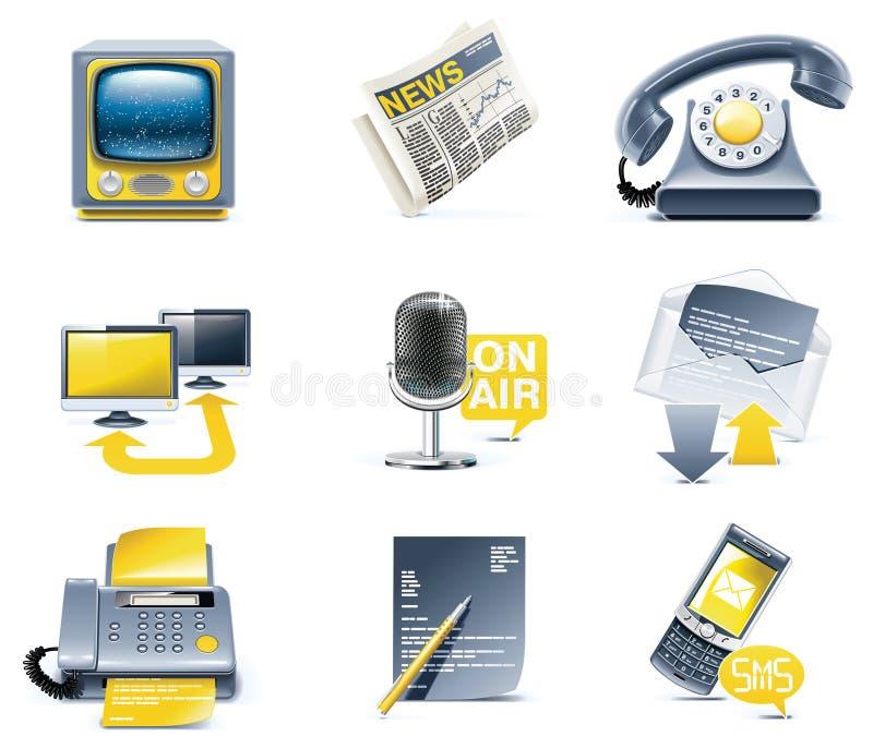 Insieme dell'icona di comunicazione di vettore. Media royalty illustrazione gratis