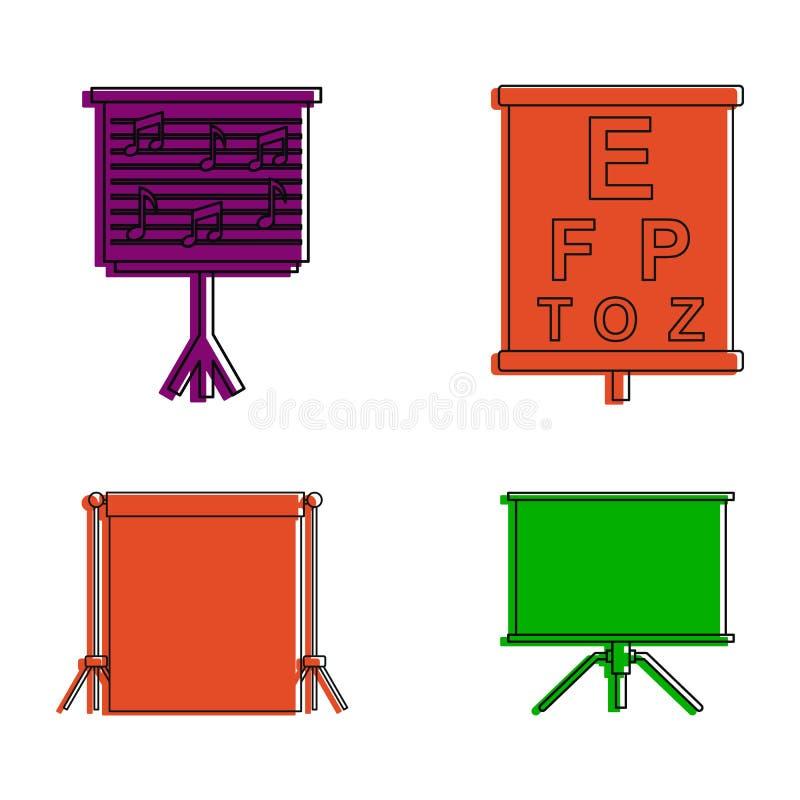 Insieme dell'icona di conferenza dell'insegna, stile del profilo di colore royalty illustrazione gratis