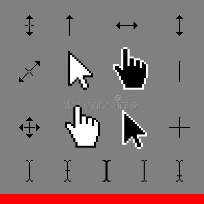 Insieme dell'icona di corsor del pixel di 17 classici Illustrazione di vettore illustrazione di stock