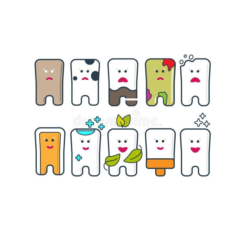 Insieme dell'icona di cure odontoiatriche illustrazione di stock