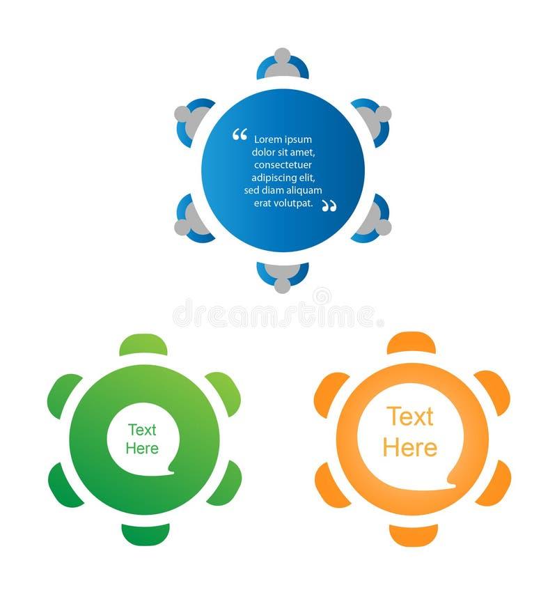 Insieme dell'icona di discussione di tavola rotonda illustrazione vettoriale