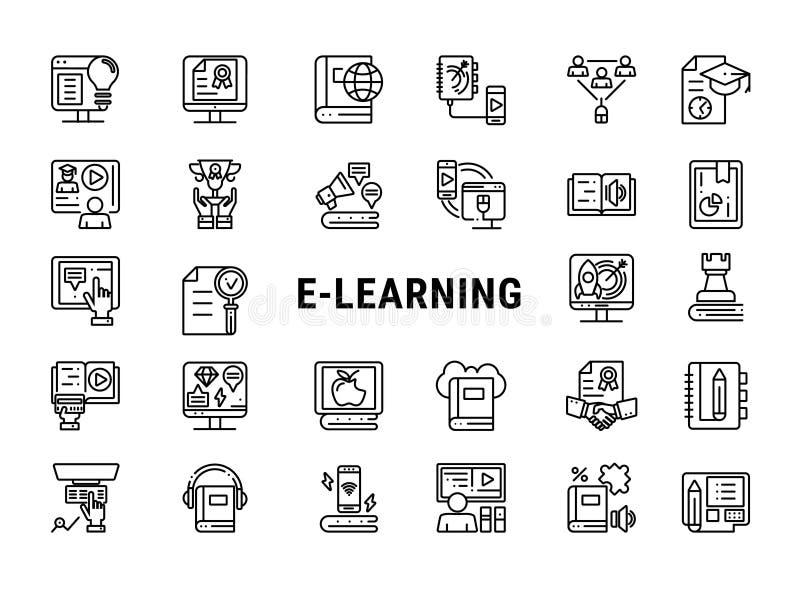 Insieme dell'icona di e-learning illustrazione di stock