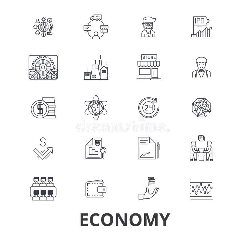 Insieme dell'icona di economia illustrazione vettoriale