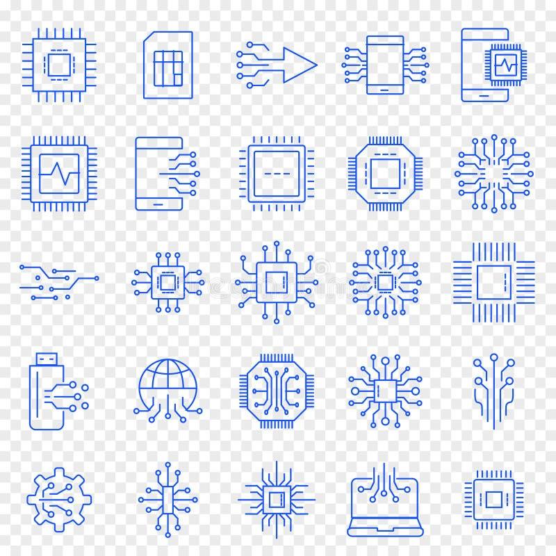 Insieme dell'icona di elettronica 25 icone di vettore imballano illustrazione vettoriale