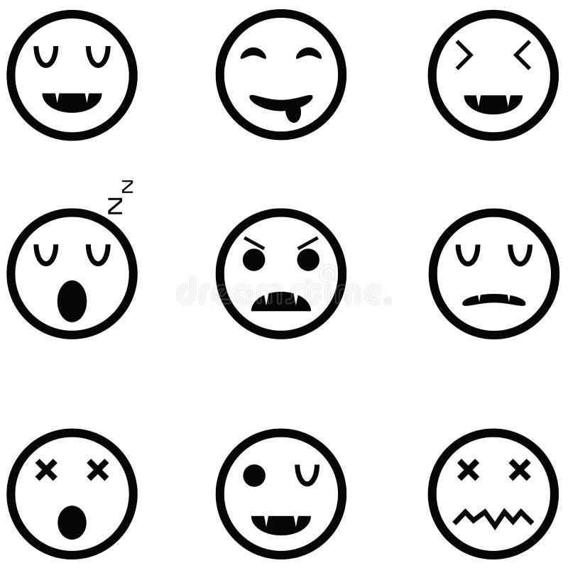 Insieme dell'icona di emozione illustrazione di stock