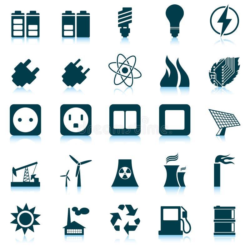 Insieme dell'icona di energia e di potenza royalty illustrazione gratis