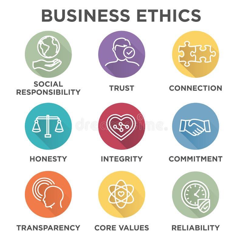 Insieme dell'icona di etiche imprenditoriali illustrazione di stock