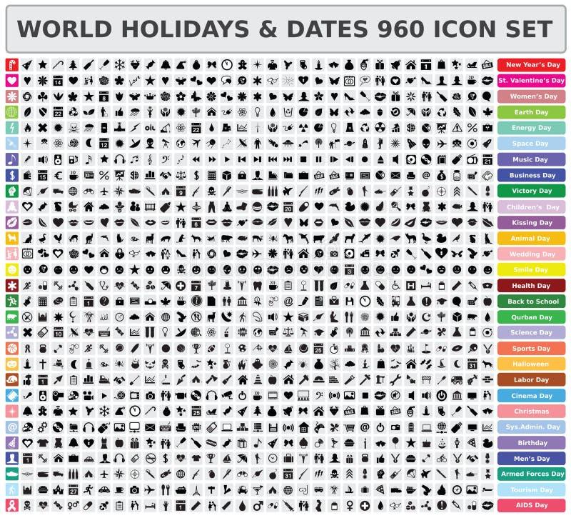 Insieme dell'icona di feste e delle date 960 del mondo illustrazione vettoriale