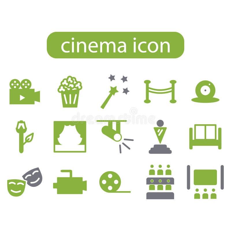 insieme dell'icona di film del film del cinema illustrazione di stock