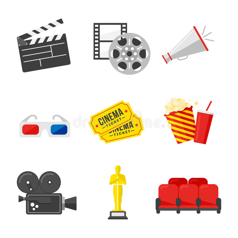 Insieme dell'icona di film Icone variopinte sul tema del cinema nello stile piano illustrazione vettoriale