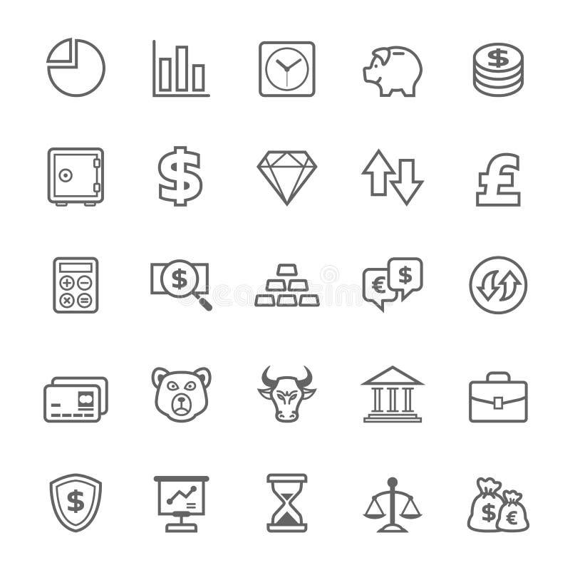 Insieme dell'icona di finanza e delle azione del colpo del profilo illustrazione vettoriale