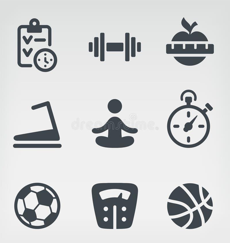 Insieme dell'icona di forma fisica illustrazione di stock