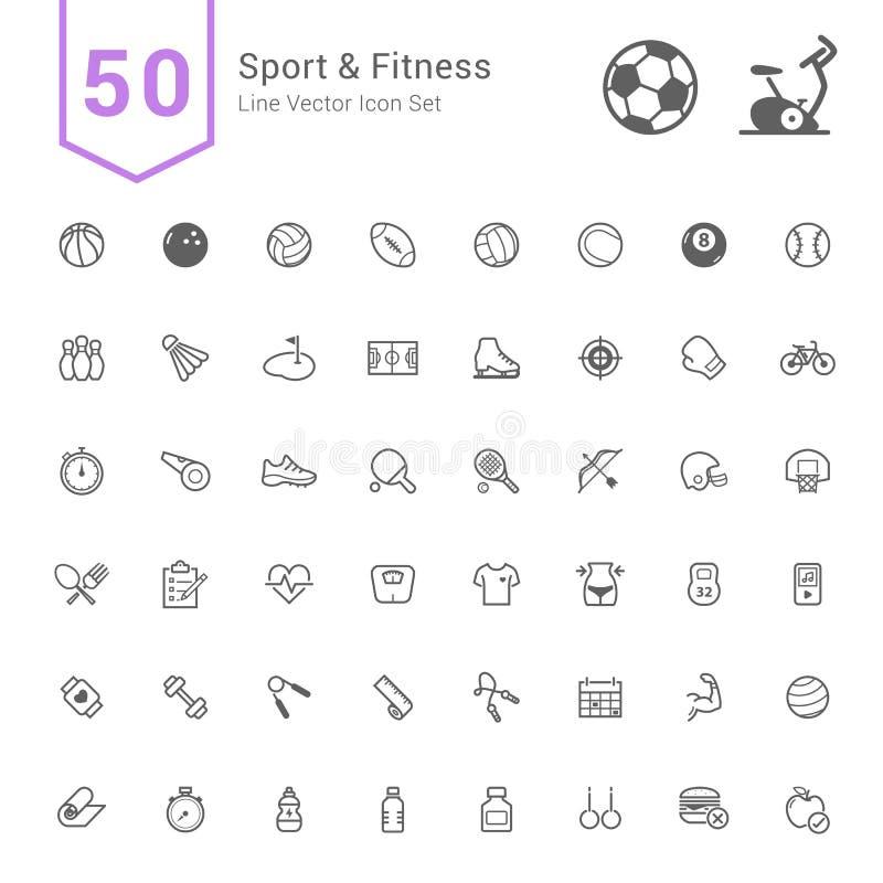 Insieme dell'icona di forma fisica & di sport 50 linea icone di vettore illustrazione di stock