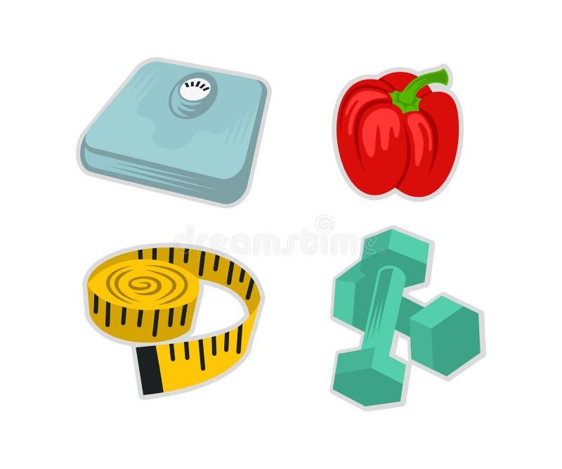 Insieme dell'icona di forma fisica, scale di forma fisica, peperone dolce, nastro di misurazione del sarto e teste di legno del p illustrazione di stock