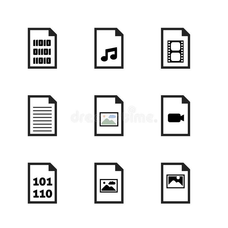 Insieme dell'icona di formato di file illustrazione di stock