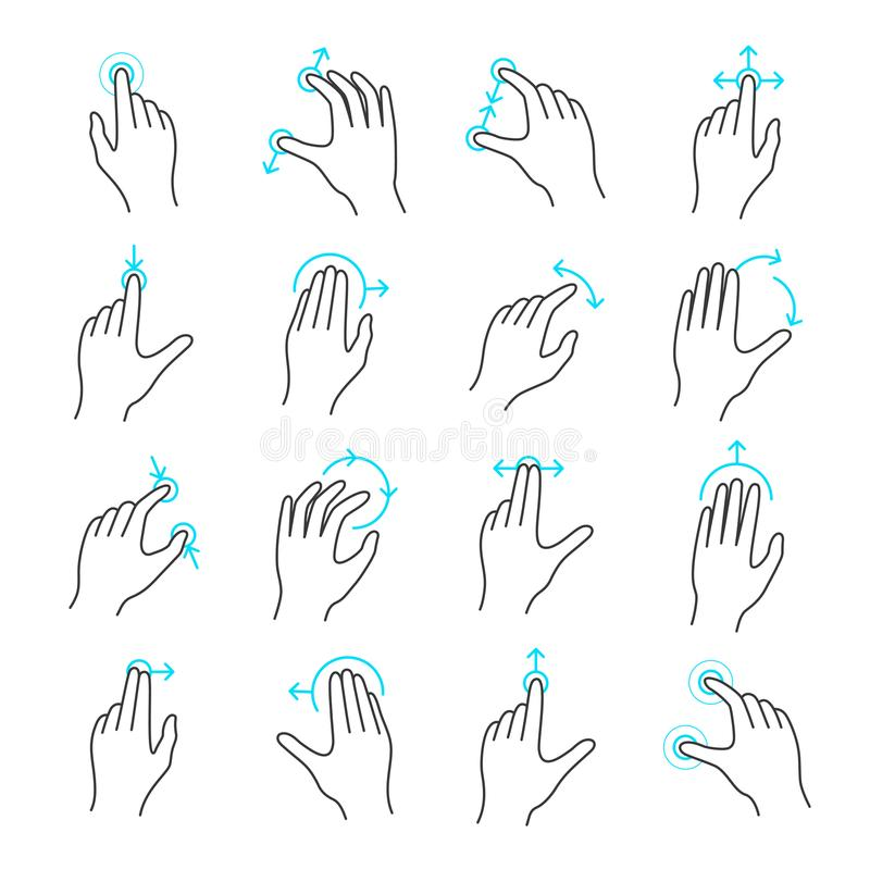 Insieme dell'icona di gesto dello schermo attivabile al tatto illustrazione di stock