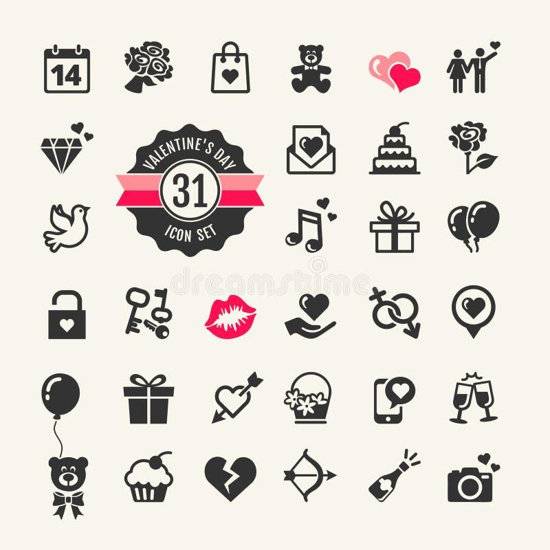 Insieme dell'icona di giorno di biglietti di S. Valentino royalty illustrazione gratis