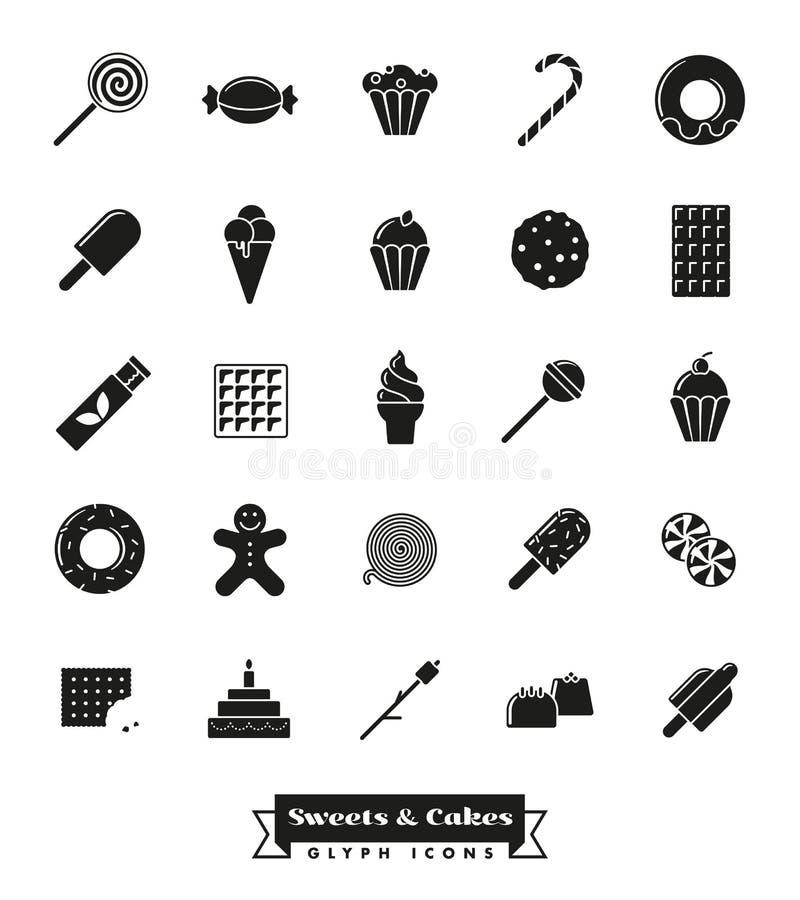 Insieme dell'icona di glifo dei dolci e dei dolci royalty illustrazione gratis