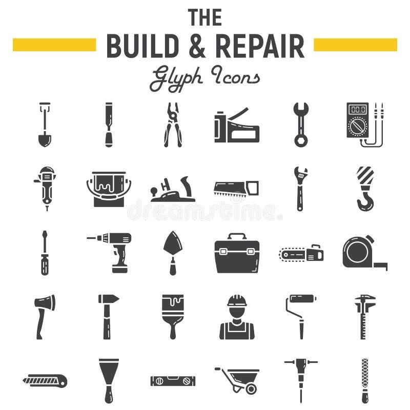 Insieme dell'icona di glifo della riparazione e costruisca, segno della costruzione illustrazione di stock