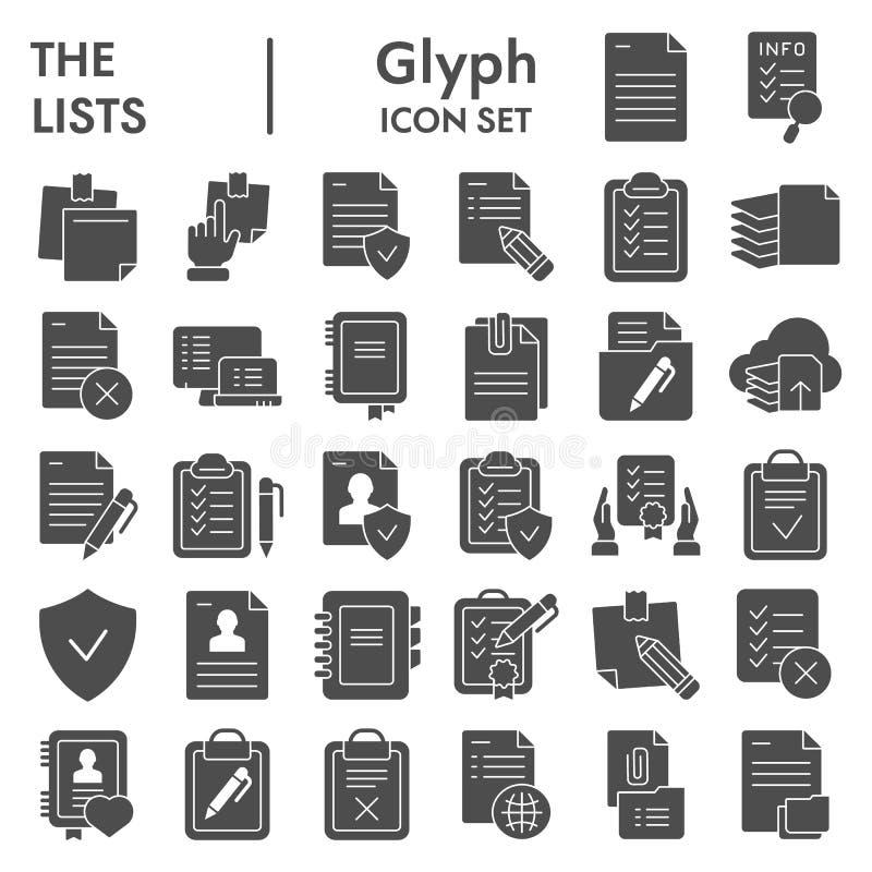 Insieme dell'icona di glifo delle liste, simboli raccolta, schizzi di vettore, illustrazioni di logo, pittogrammi solidi dei docu royalty illustrazione gratis