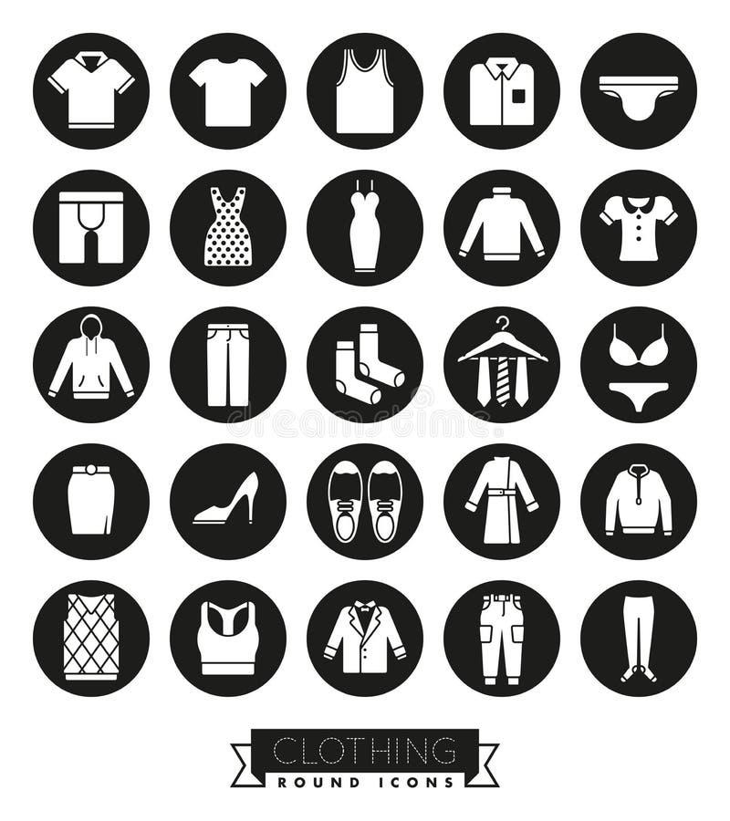 Insieme dell'icona di glifo di modo e dell'abbigliamento illustrazione vettoriale