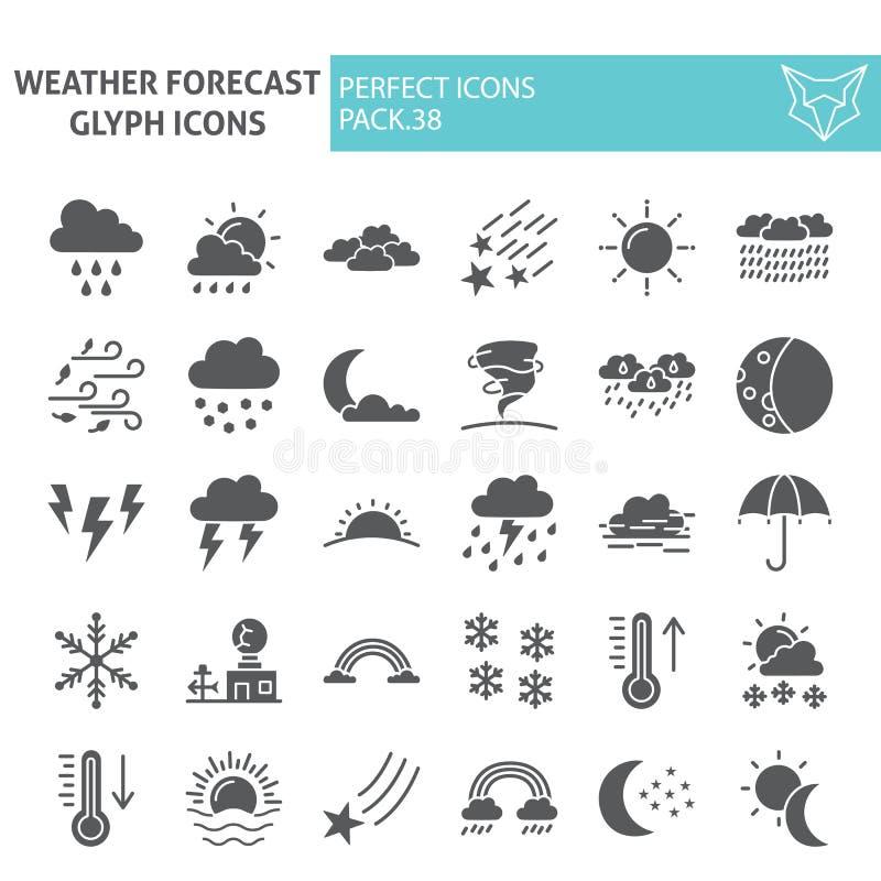 Insieme dell'icona di glifo di previsioni del tempo, simboli raccolta, schizzi di vettore, illustrazioni di logo, segni di clima  royalty illustrazione gratis