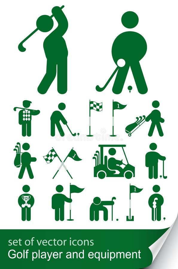 Insieme dell'icona di golf illustrazione di stock