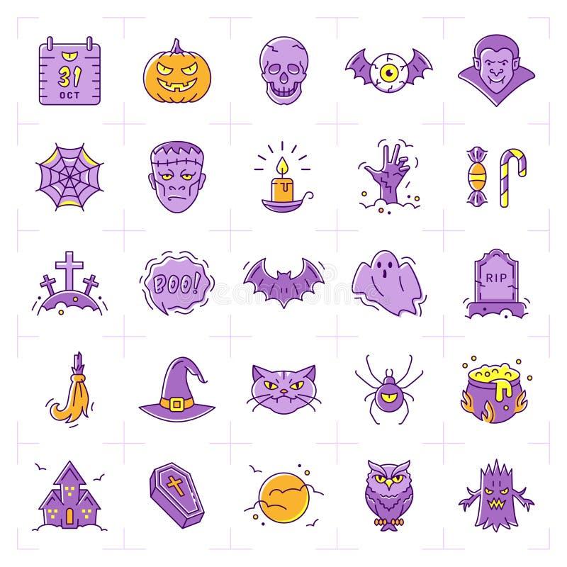 Insieme dell'icona di Halloween, icone variopinte di Halloween La linea sottile progettazione di arte, Vector l'illustrazione pia illustrazione vettoriale