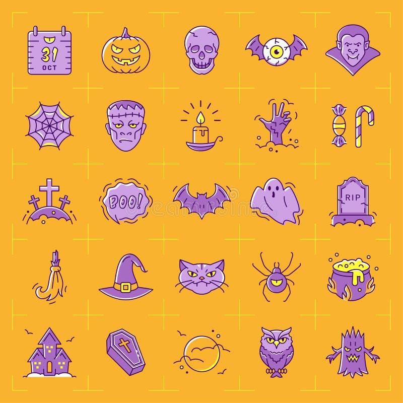 Insieme dell'icona di Halloween Icone variopinte di Halloween su un fondo arancio La linea sottile progettazione di arte, Vector  illustrazione vettoriale