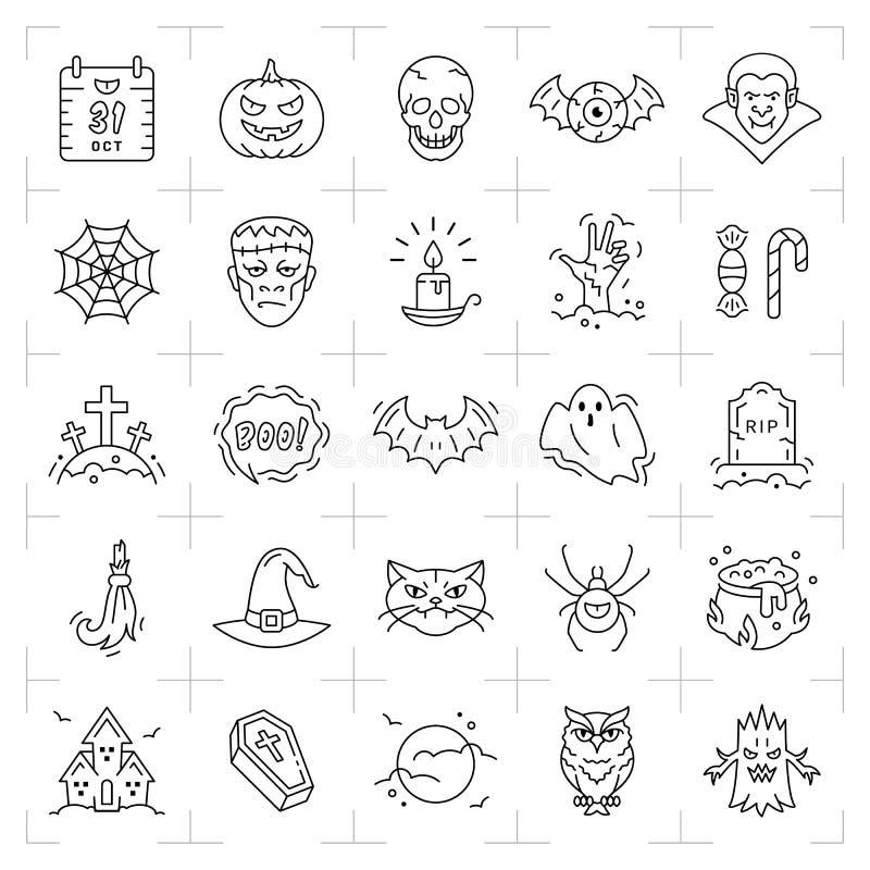 Insieme dell'icona di Halloween Linea sottile icone di Halloween di arte Illustrazione piana di vettore illustrazione vettoriale