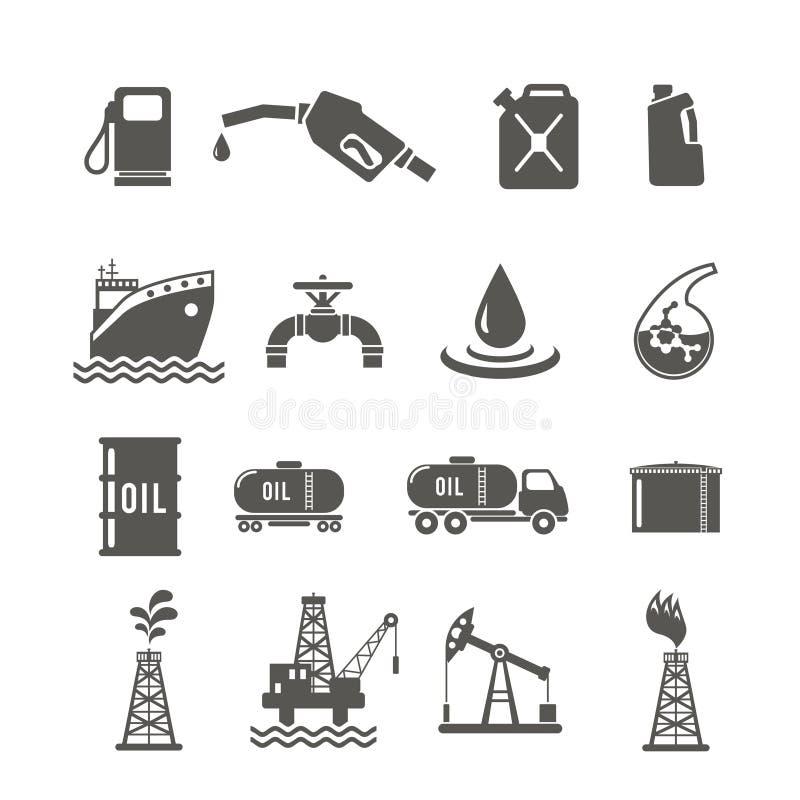 Insieme dell'icona di industria petrolifera royalty illustrazione gratis
