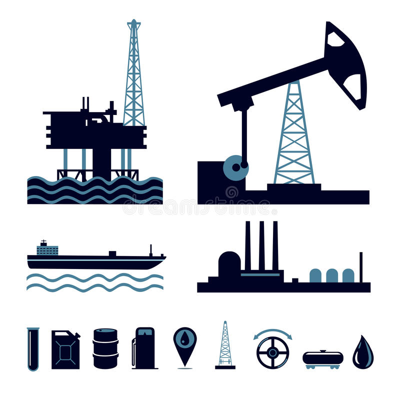 Insieme dell'icona di industria petrolifera illustrazione di stock