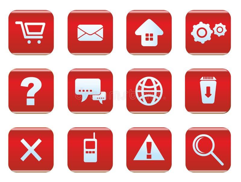 Insieme dell'icona di Internet e di web illustrazione di stock