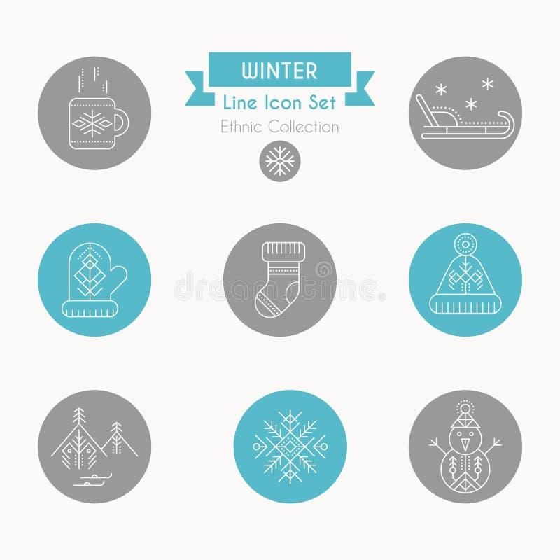 Insieme dell'icona di inverno Raccolta della linea creativa elementi di progettazione di stile illustrazione di stock