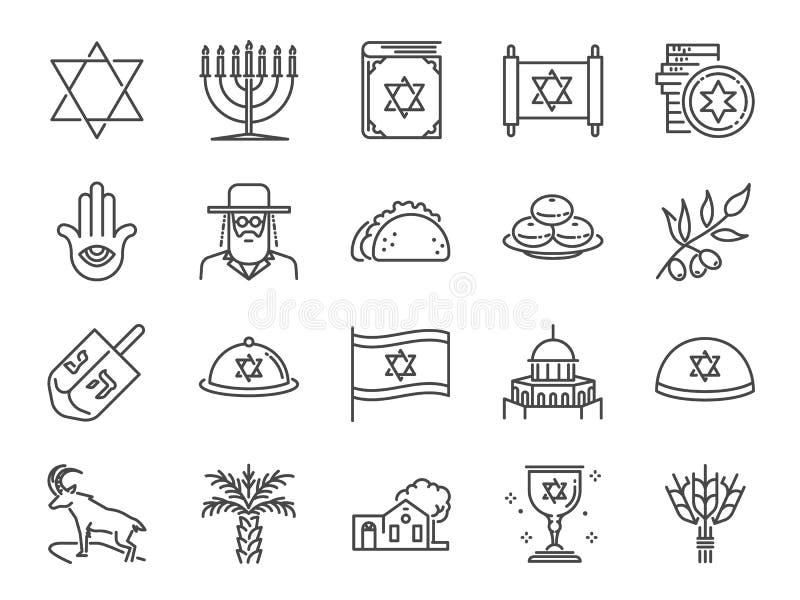 Insieme dell'icona di Israele Icone incluse come israeliano, Gerusalemme, ebreo, rabbino, torah, palma da datteri e più illustrazione di stock