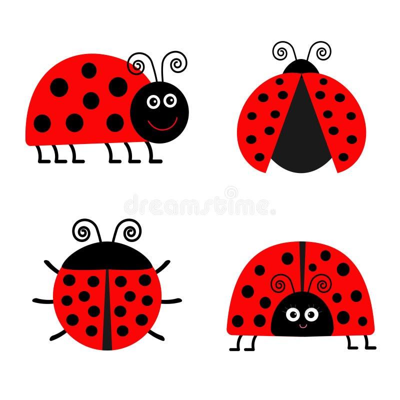 Insieme dell'icona di Ladybird della coccinella Priorità bassa del bambino Insetto divertente Progettazione piana isolata illustrazione vettoriale