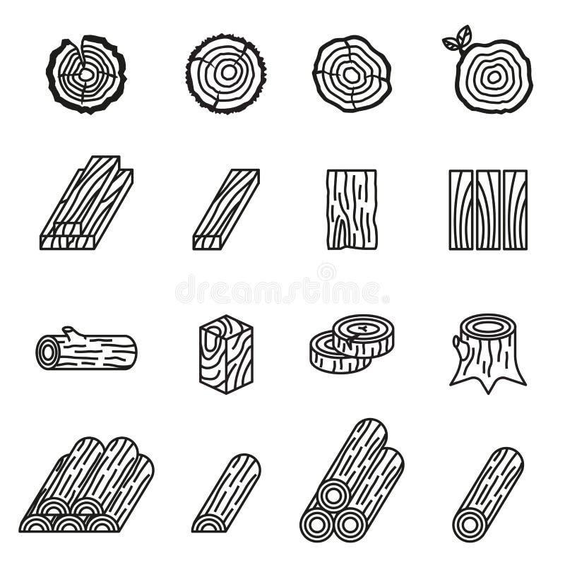 Insieme dell'icona di legno e della registrazione Linea sottile vettore delle azione di stile illustrazione di stock