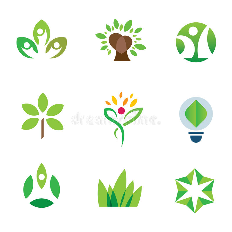 Insieme dell'icona di logo della comunità della natura dell'albero di verde di consapevolezza dell'ambiente di Eco illustrazione di stock